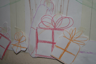 Paper presents under our handmade tree